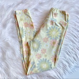 LuLaRoe Pants - LulaRoe | Light Yellow Floral Pattern Leggings